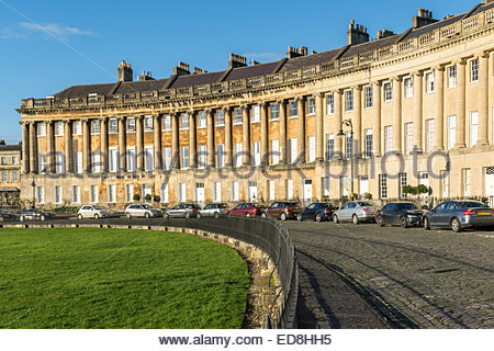 The Royal Crescent in Bath, Somerset, one of the finest examples of Georgian architecture in the UK - Stock Photo