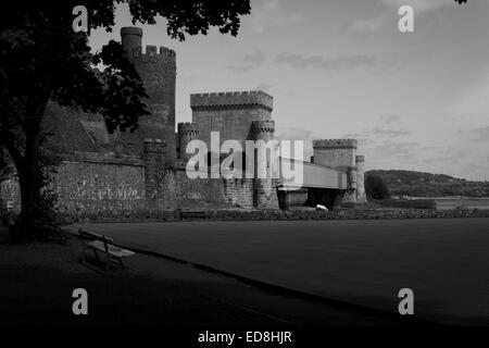 Conwy Castle along with the railway bridge in black and white - Stock Photo
