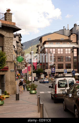 ANDORRA LA VELLA, ANDORRA-SEPTEMBER 9-  Residents and tourists stroll through the streets on September 9,2014 in - Stock Photo