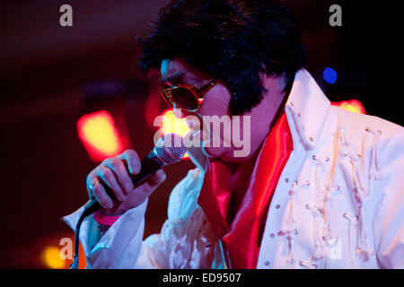 Elvis Presley tribute or impersonation act. 2015 - Stock Photo