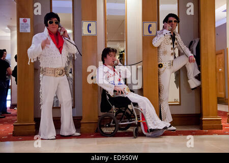 Elvis Presley tribute or impersonation act. Birmingham NEC 2015 - Stock Photo