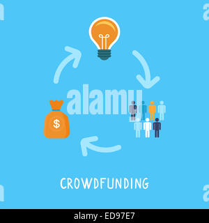 Crowdfunding concept in flat style - new business model - funding project by raising monetary contributions from - Stock Photo