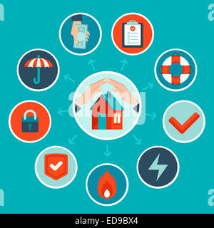 House insurance concept in flat style - infographic design elements and icons - Stock Photo