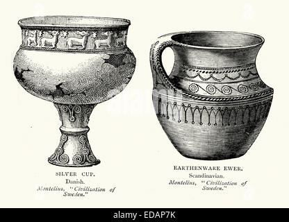Viking artifacts Silver Cup and Earthenware Ewer. - Stock Photo