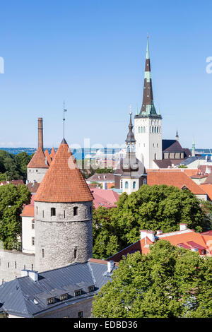 View from Toompea Hill on the Lower Town, old town with the St. Olaf's Church or Oleviste kirik - Stock Photo