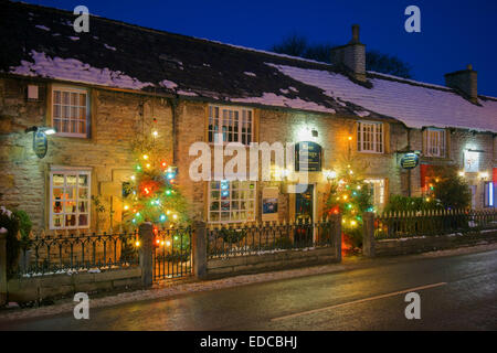 UK,Derbyshire,Peak District,Castleton Christmas Lights - Stock Photo