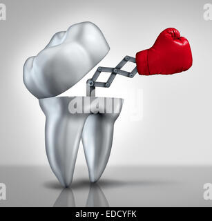Fighting cavities and dental health care concept as an open molar tooth with a red boxing glove emerging to fight - Stock Photo
