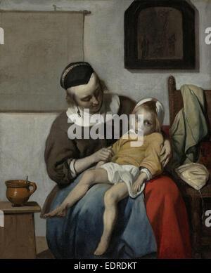 The Sick Child, Gabriël Metsu, c. 1664 - c. 1666 - Stock Photo