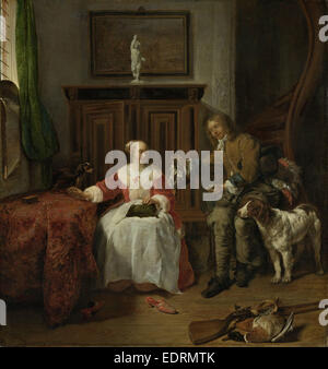The Hunter's Present, Gabriël Metsu, c. 1658 - c. 1661 - Stock Photo