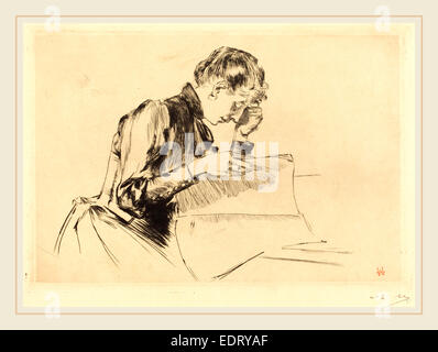 Auguste Lepère (French, 1849-1918), Images (Les images), 1889, drypoint - Stock Photo