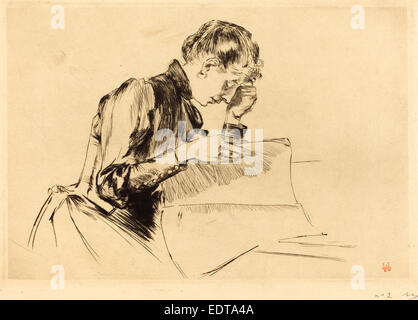 Auguste Lepère (French, 1849 - 1918), Images (Les images), 1889, drypoint - Stock Photo