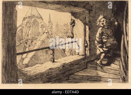 Auguste Lepère (French, 1849 - 1918), Les toits de Saint-Severin, 1889, etching - Stock Photo