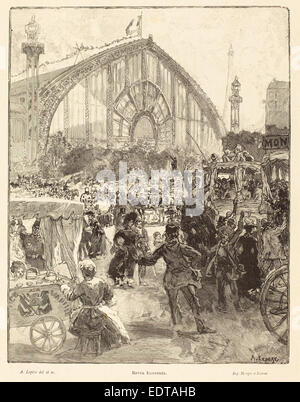 Auguste Lepère (French, 1849 - 1918), Le Palais des Machines, published 1889, wood engraving - Stock Photo