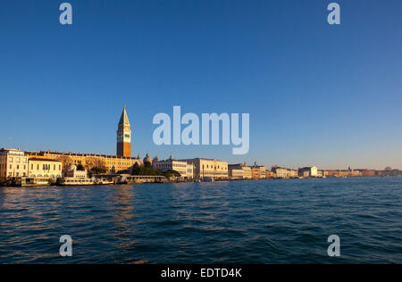 A landscape looking onto St Marks square at the mouth of the Grand Canal in Venice Italy. - Stock Photo