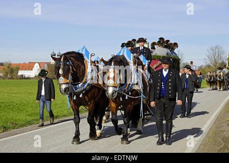Leonhardifahrt in Benediktbeuren, Oberbayern, Deutschland,Traditional Leonhard Parade, Leonhardifahrt in Benediktbeuern, - Stock Photo