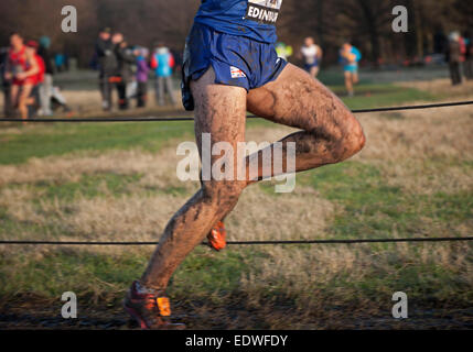 Edinburgh Holyrood Park, Scotland UK 10 January 2015. Action shots from Great Edinburgh Cross Country races. The - Stock Photo
