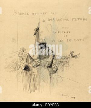 Jean-Louis Forain, Le Baiser du Drapeau, French, 1852 - 1931, 1918, black crayon on laid paper - Stock Photo