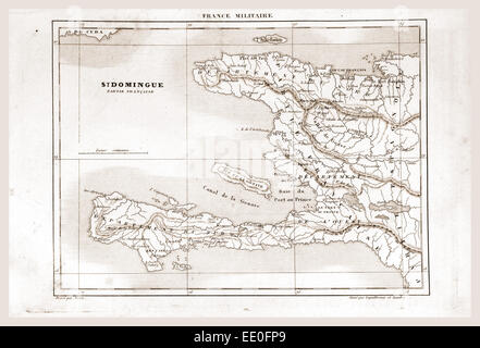 Map, Saint-Domingue was a French colony on the Caribbean island of Hispaniola from 1659 to 1809, 19th century engraving - Stock Photo