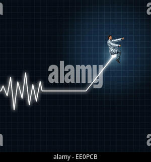 Medical health concept as a physician or researcher guiding and managing an ecg or ekg monitor light out of flat - Stock Photo