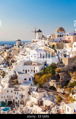 Windmill and traditional houses, Oia, Santorini (Thira), Cyclades Islands, Greek Islands, Greece, Europe - Stock Photo