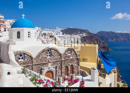 Greek church of St. Nicholas with blue dome, Oia, Santorini (Thira), Cyclades Islands, Greek Islands, Greece, Europe - Stock Photo