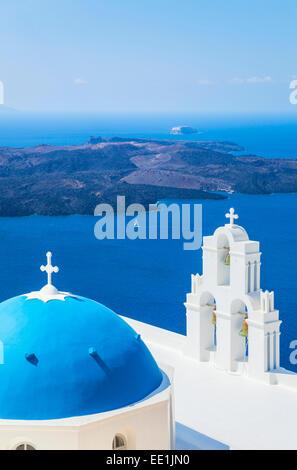 Blue dome and bell tower, St. Gerasimos church, Firostefani, Fira, Santorini (Thira), Cyclades Islands, Greece - Stock Photo