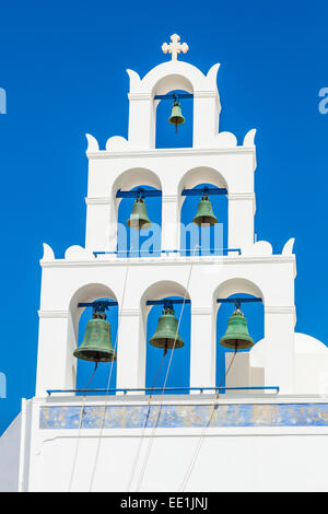 Greek church bell tower of Panagia Platsani, Oia, Santorini (Thira), Cyclades Islands, Greek Islands, Greece, Europe - Stock Photo