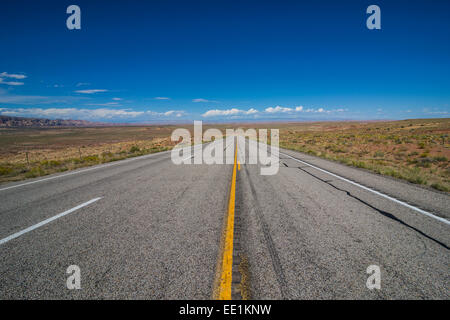 Road leading through the Grand Staircase Escalante National Monument, Utah, United States of America, North America - Stock Photo