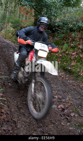 Motorcycle competitors on the Fingle Section of the 2015 Exeter Trial. - Stock Photo