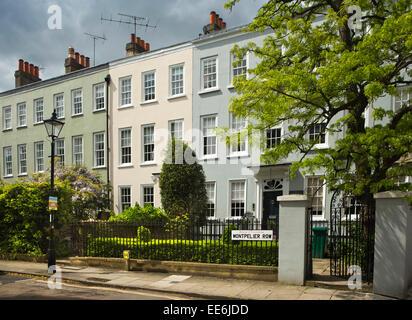 UK, London, Twickenham, Montpelier Row, 1720 terrace of Georgian Houses - Stock Photo