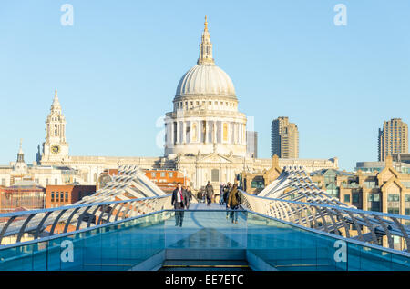 View of St Paul's Cathedral from the south bank side of Millenium Bridge. London, UK - Stock Photo