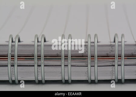 extreme close up of ringed notebook with empty lined page - Stock Photo
