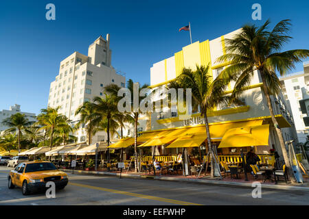 Art Deco Hotels on Ocean Drive, South Beach, Miami, Florida, USA - Stock Photo