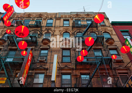 New York, NY -  17 April 2009 - Red Chinese Lanterns on Eldridge Street in Chinatown ©Stacy Walsh Rosenstock/Alamy - Stock Photo