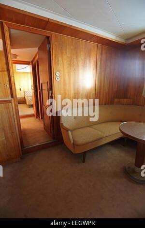 Jovanka Broz sleeping room interior on board of Tito presidential yacht Galeb moored  in the harbor of Rijeka, Croatia. - Stock Photo