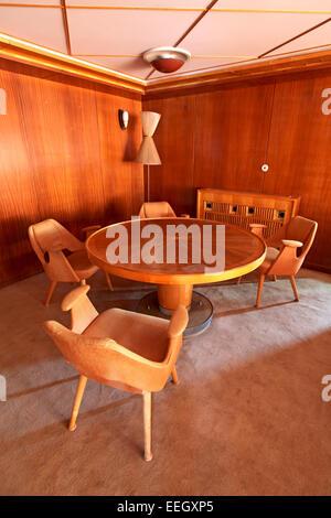 Private room interior on board of Marshal Josip Broz Tito presidential yacht Galeb moored  in the harbor of Rijeka, - Stock Photo