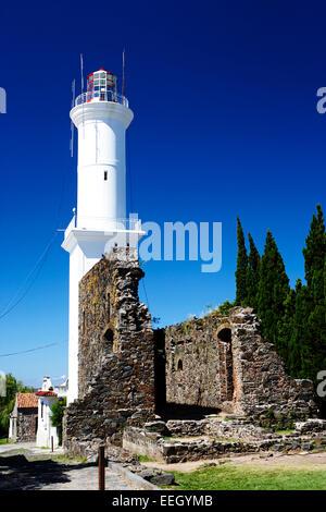 ruins of san francisco convent and lighthouse Barrio Historico Colonia Del Sacramento Uruguay South America - Stock Photo