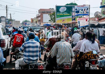 Road full of motorbikes, Lome, Togo. - Stock Photo