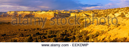 View of mesas and Table Cliff Plateau [Escalante Mountains] in distance. Grand Staircase-Escalante National Monument, - Stock Photo