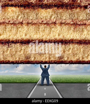 Get fit concept and losing weight fitness and health care metaphor as an overweight man lifting a wall made of cake - Stock Photo