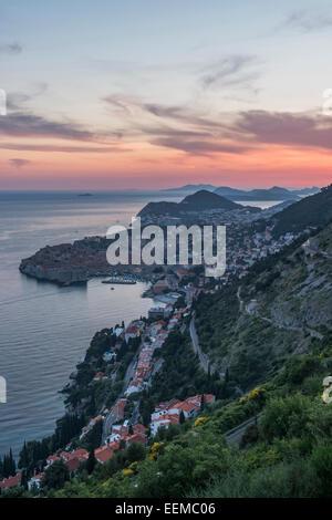 Aerial view of coastal city on hillside, Dubrovnik, Dubrovnik-Neretva, Croatia - Stock Photo