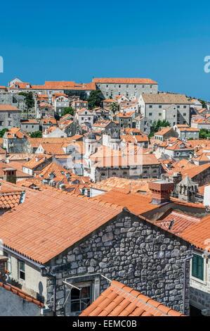 Rooftops of city on hillside, Dubrovnik, Dubrovnik-Neretva, Croatia - Stock Photo