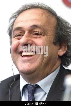 Moscow, Russia. 20th Jan, 2015. Michel Platini, president of the Union of European Football Associations (UEFA), - Stock Photo