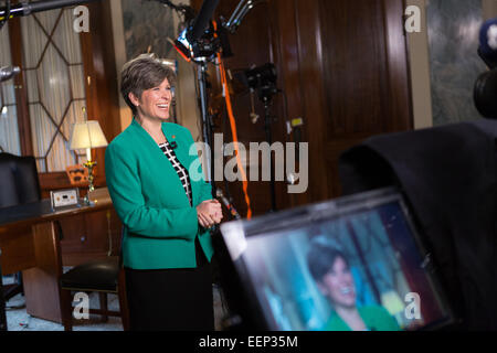 US Senator Joni Ernst from Iowa prepares to deliver the Republican response to the President's State of the Union - Stock Photo