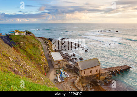 Sunset at Polpeor Cove Lizard Point the most  Cornwall England UK Europe - Stock Photo