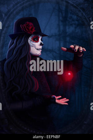 Woman with sugar skull makeup with levitating red apple at dark forest background - Stock Photo