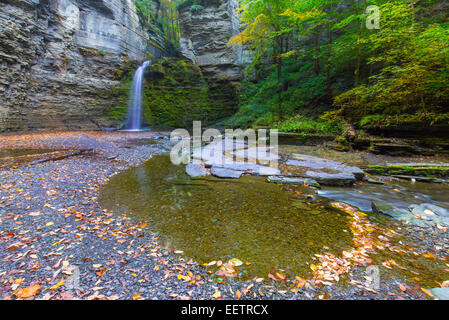 Eagle Cliff Falls on McClure Creek in Havanna Glen Park in the town of Montour Falls in the Finger Lakes Region - Stock Photo