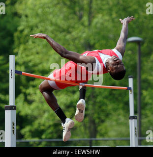 High school high jumper in action CT USA - Stock Photo