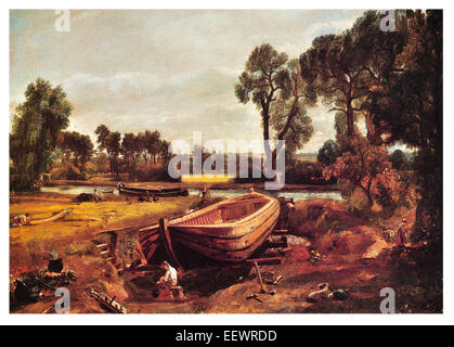 Boat-Building near Flatford Mill John Constable construction barge dry dock carpenter craft builder timber boat - Stock Photo