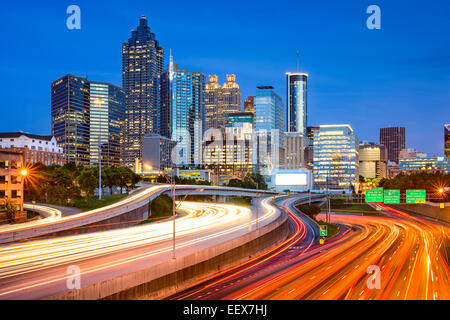 Atlanta, Georgia, USA downtown city skyline over the interstate. - Stock Photo